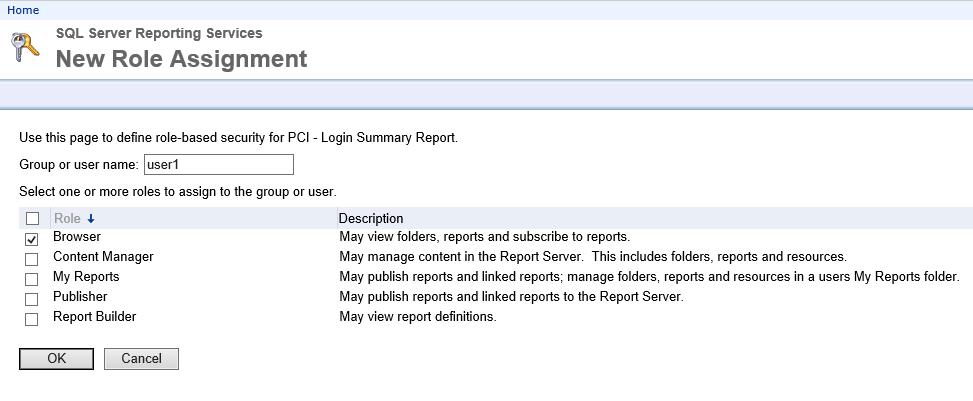 Granting access in SSRS to reports