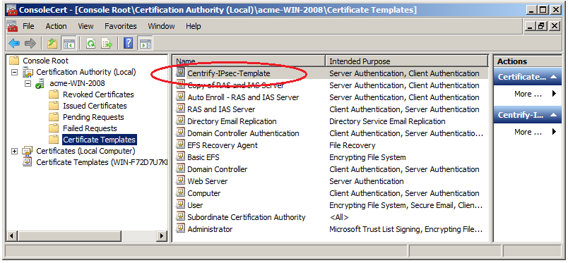 Configuring 8021x wireless authentication you should see that the certificate template that you have configured for auto enrollment is contained in the certification authority for the domain yadclub Images