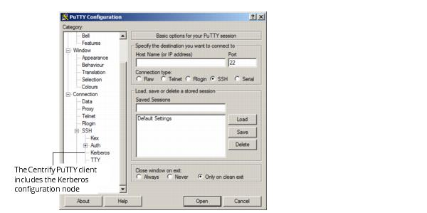 Configuring the Centrify PuTTY client