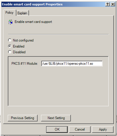 Configuring smart card authentication